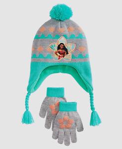 $98 Disney Kid Girl Blue Gray Moana Pompom Trapper Gloves Set Beanie Hat Cap O/S