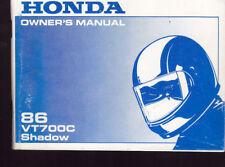 1986 HONDA VF700C SHADOW  OWNER`S MANUAL