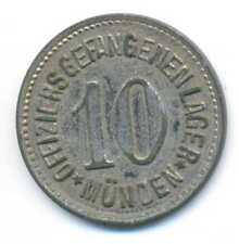 Germany WWI German Prisoners Officer Camp Münden Notgeld Zinc Coin 10 Pfennig XF