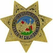 STATE OF CALIFORNIA INVESTIGATOR POLICE LAPEL BADGE PIN