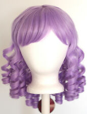 14'' Ringlet Curly Shoulder Length w/ Short Bangs Lavender Purple Wig NEW