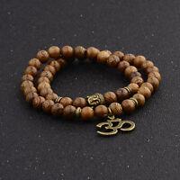 Fashion 8MM Wood Beads Yoga Energy Reiki Women Men Bracelets Charm Jewelry Gift