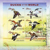 Gambia 2002 MNH Ducks of World Birds Teal Bufflehead Shelduck 6v M/S III Stamps