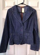 Womens Arden B. Blazer Jacket Waist Coat Sz S Blue Corduroy