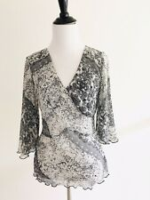 Kaelyn-Max V-neck Split Bell Sleeves Size S Small Graphic Sheer Blouse