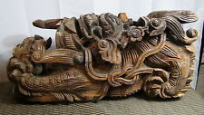 PAIR ANTIQUE 17c-18c CHINESE HARD WOOD CARVED FOO-DOGS TEMPLE ELEMENTS SIGN