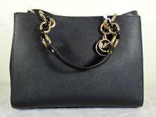 Michael Michael Kors Cynthia Medium Black Saffiano Leather Satchel Bag