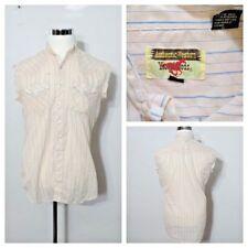 Redneck Trucker Grunge Shirt Men's M Authentic Western Peach Pearl Snap
