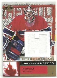 2002-03 UD Foundations Canadian Heroes GOLD PATRICK ROY CANADIENS JERSEY SP /50