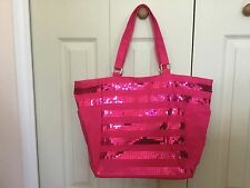 VICTORIA's SECRET Large Travel Beach Tote Bag Pink With Sequin Pocketed NEW