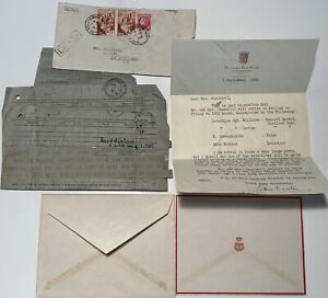 Duke And Duchess Of Windsor Cablegram Card Winston Churchill Itinerary For Visit