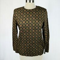 Brooks Brothers Vintage 90's Women's Top Black with Red & Gold Medallions Sz 8