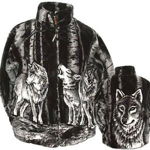 Black Mountain Timber Wolf Ultra Plush Fleece Wolves Jacket  XS - 3X New