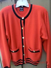 """Auth CHANEL Red & Black & cashmere Cardigan Sweater Sz""""P Small"""