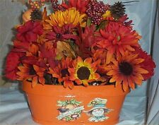 Fall Floral Table Arrangement Thanksgiving Holiday Decoration Wicker Scarecrow 2