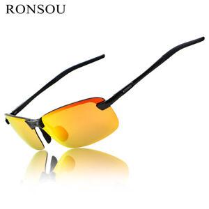 RONSOU Men Rimless Aluminium-Magnesium Polarized Sunglasses For Fishing Golf