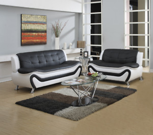 CURBSIDE SHIPPING TO GEORGIA - NEW Sofa Loveseat Set Black White 2PC Living Room