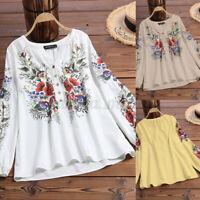 Collège Femme Décontracté Imprimé Floral Col V Manche Longue Chemise Shirt Tops