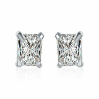 10k Yellow Gold Square Stud Earrings -Clear White CZ~April Birthstone