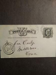 US UX7 POSTCARD ONE CENT LIBERTY IN BLACK HARTFORD TO MIDDLETOWN CT 1883