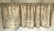 Valance Off-White and Gray Air Travel Map Theme Custom Made Window Treatment