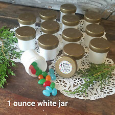 24 WHITE Party Favor Plastic Jars GOLD Screw CAPS Container 1 ounce  4305 USA