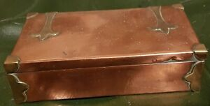 Small Copper & Brass Arts Crafts Wood Lined Box