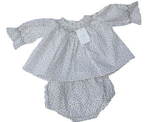 Marie Chantal Smocked Neck Top And Frilly Knickers NWT RRP £80 Cream & Brown