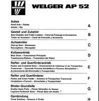 Welger AP52 Baler Parts Manual (PDF file) SPARE PARTS LIST CATALOGUE