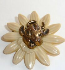 Antique, Elsie Borden, Daisy Pin, Gold Color, Elsie Bust, Raised in Center, N.Y.