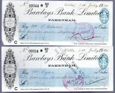 (X456)   BARCLAYS BANK FAKENHAM 1924 CHEQUES SEE SCANS