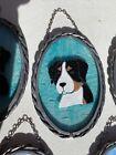 Stained Glass Art Suncatcher Swiss Mountain Dog Aqua L