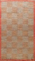 Modern Checkered Gabbeh Kashkoli Area Rug Oriental Hand-knotted Wool Carpet 6x10