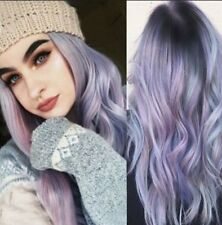 5 Color Purple Ombre Long Straight Hair Blue Color Gradient Curly Wig Cosplay CI