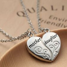 2pcs/set Mother's Day Gift Pendant Necklace Stainless Steel Love Heart Jewelry