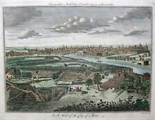 A VIEW OF THE CITY OF PARIS  c1778 GENUINE ANTIQUE COPPERPLATE ENGRAVING
