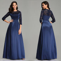 Ever-Pretty Navy Blue Long Evening Party Dresses A Line Lace Sleeve Formal Dress