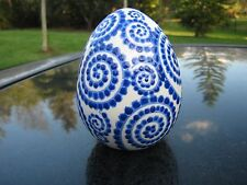 """Dated 1997 Blue Swirl Dotted Ceramic 5"""" Decorative Egg See Photos Collectible"""