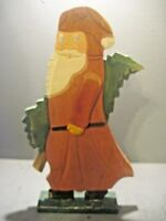 MIDWEST OF CANNON FALLS HAND CARVED WOODEN SANTA FLAT CARRYING A TREE