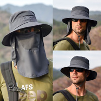 Men Women Boonie Hat With Neck Flap Fishing Hiking Outdoor UV Protection Sun Hat