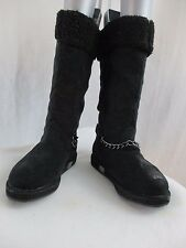 G BY GUESS WOMEN'S BLACK MULTI FABRIC FAUX FUR BOOTS, SIZE 5.5 M