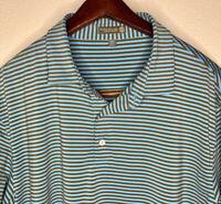 Peter Millar Summer Comfort Blue Striped S/S Golf Stretch Polo Shirt Mens Sz XL