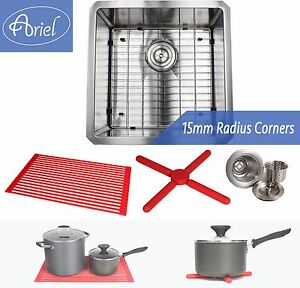 "Ariel 18"" 15mm Radius Square Stainless Steel Kitchen / Island Bar Sink Combo"