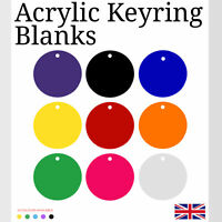 Acrylic KeyRing Blanks x10 Circle Disc Rings Not Included Blanks Shapes 50mm