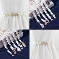 Shiny Dress Skirt Pearl Waistband Elastic Waist Belt Rhinestone Waist Chain
