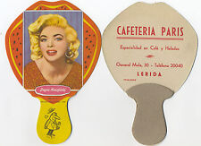 LÉRIDA Pay Pay de cartón de tipo PUBLICITARIO Jayne Mansfield Serie 7. Año 1959.
