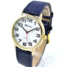 Ravel Ladies Jumbo White Dial & Navy Blue PU Buckle Strap Watch R0105.26.1