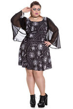 SPIN DOCTOR Lucille ~ Gothic Occult Cape Sleeve Mini Skater Dress ~ Psychobilly