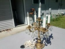 New ListingVintage Brass Candelabra Electric Table Lamp Crystal Prisms Made In Spain Works!
