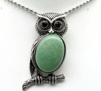 Natural aventurine Gem beads animal Owl Retro Silver Pendant necklace Jewelry P1